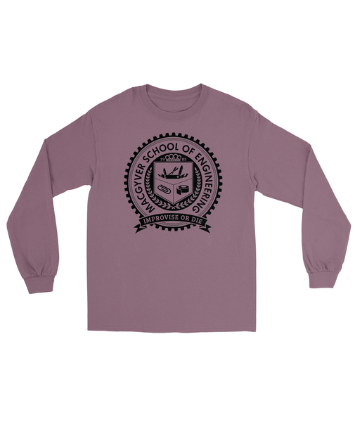 MacGyver School of Engineering T-Shirt Men's Long Sleeve Tee Maroon