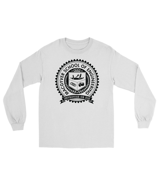 MacGyver School of Engineering T-Shirt Men's Long Sleeve Tee White