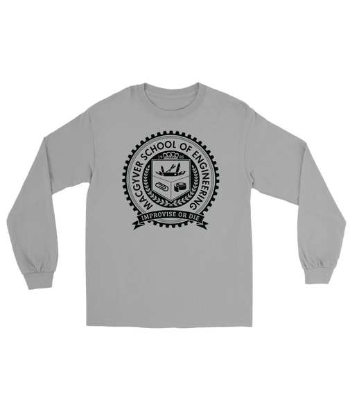MacGyver School of Engineering T-Shirt Men's Long Sleeve Tee Sports Gray