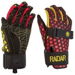 Radar Total Radar Awesomeness Water Ski Gloves - Boy's Size (L) - Yellow/Red - Wakeboss