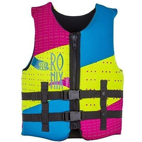 Ronix 2016 August Girl's Front Zip CGA Vest Youth (Neon/Pink/Blue) Kid's Life Jacket - Wakeboss
