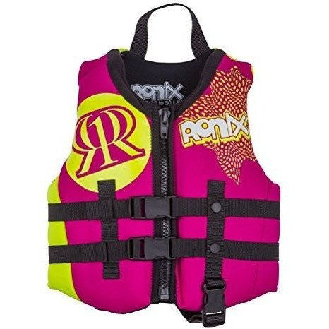 Ronix August Girl's Front Zip CGA Vest Child (Pink/Highlighter) KId's Life Jacket - Wakeboss