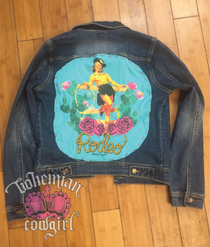 Pin Up Rodeo Girl Denim Jacket - Bohemian Cowgirl