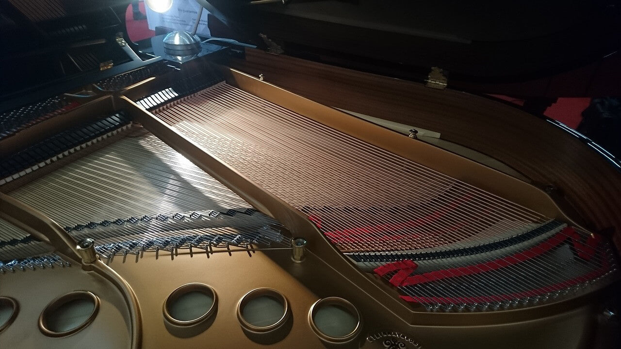 Internal components of a grand piano