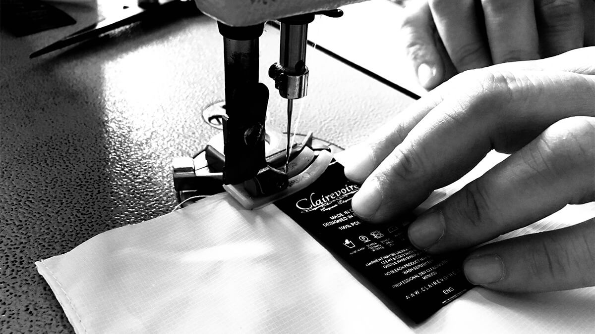 Sewing a clairevoire piano cover washing label