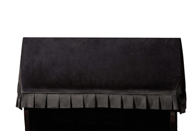 Front shot black velvet fabric upright piano cover