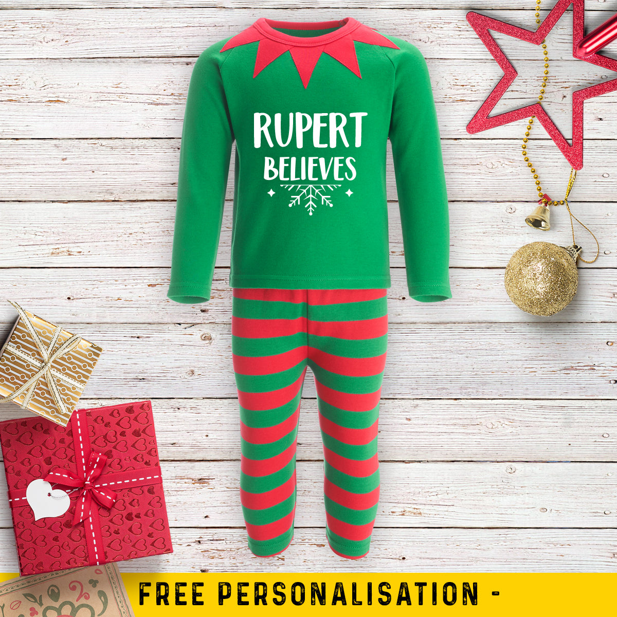 Personalised Christmas Elf Pyjamas