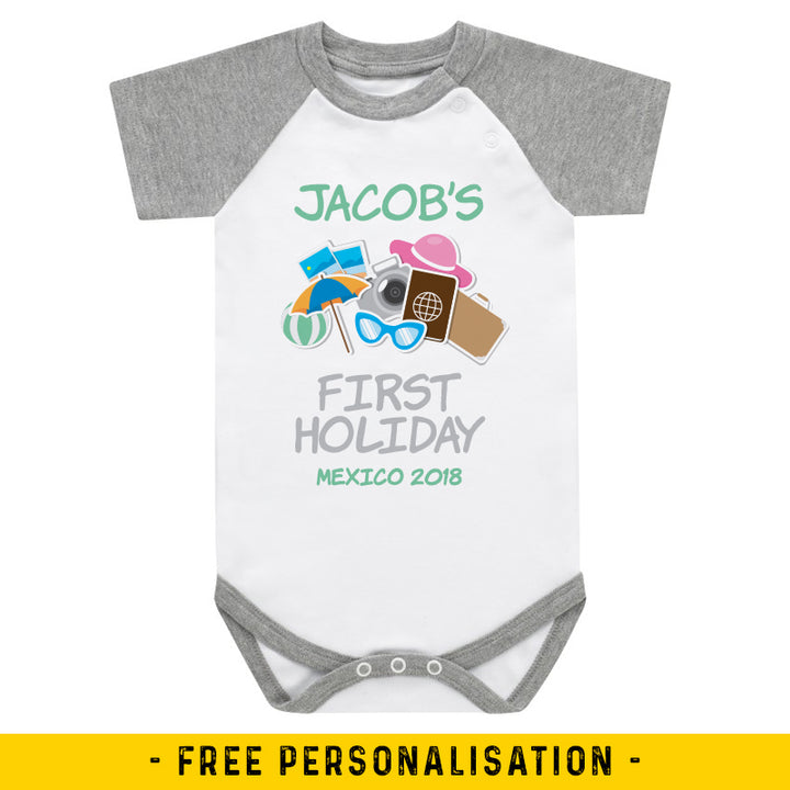 First Holiday - Personalised Baby Vest