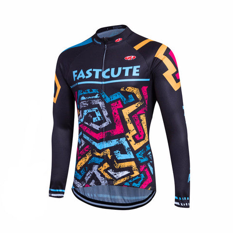 Fastcute Colored Lines Men's Long Sleeve Winter Fleece Cycling Jersey in 8 Sizes