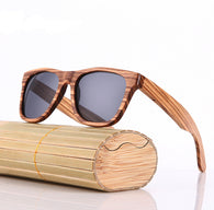 Contemporary Polarized Zebra, Du, or Bamboo  Wood Sunglasses in 16 Styles
