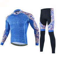 Cheji Blue Floral Men's Long Sleeve Cycling Jersey & Pants Set in 6 Sizes - Joshua Tree Depot