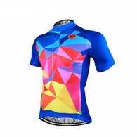 Weimostar Blue Pied Men's Short Sleeve Cycling Jersey in 8 Sizes - Joshua Tree Depot