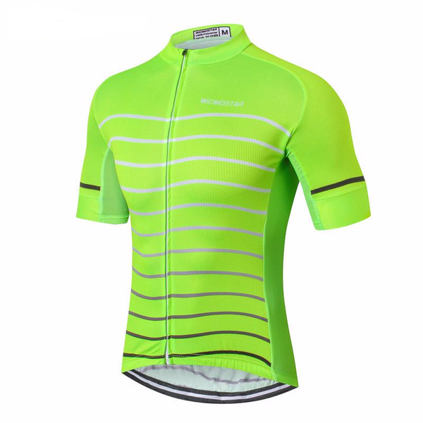 Weimostar Improved Visibility Men's Short Sleeve Cycling Jersey in 6 in Green or Orange