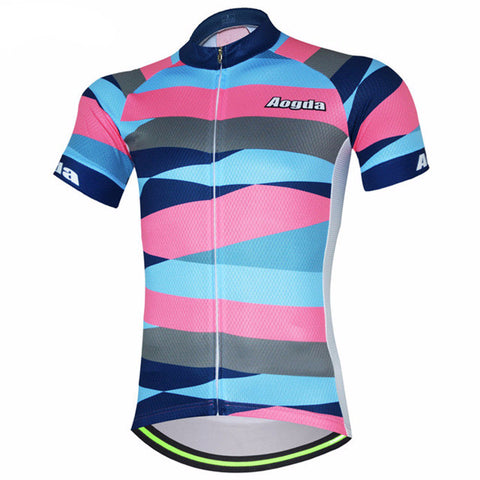 Aogda Men's Colored Bands Short Sleeve Cycling Jersey in 6 Sizes - Joshua Tree Depot