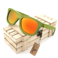 Green Frame  Polarized Bamboo Wood Sunglasses