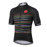 Weimostar Colored Stripes on Black Men's Short Sleeve Cycling Jersey in 8 Sizes