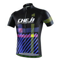 Cheji Black & Blue Short Sleeve Cycling Jersey in 6 Sizes