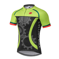 Weimostar Green Gears Men's Short Sleeve Cycling Jersey in 8 Sizes - Joshua Tree Depot
