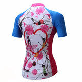 Teleyi Pink Flowers With Heart Women's Short Sleeve Cycling Jersey in 6 Sizes