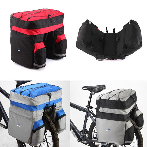 60L Bicycle Rear Carrier Pannier. For Both Road & Mountain Bikes. Available In 3 Colors. Includes Rain Cover. - JoshuaTreeDepot