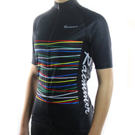 Racmmer Colored Stripes  Women's Short Sleeve Cycling Jersey in 2 Colors & 8 Sizes - Joshua Tree Depot