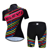 Teleyi Colored Ribbons On Black Women's Short Sleeve Cycling Jersey & Pants Set In 6 Sizes - Joshua Tree Depot