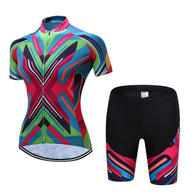 Teleyi Chevron Women's Short Sleeve Cycling Jersey & Pants Set In 6 Sizes - Joshua Tree Depot