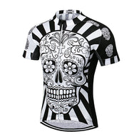 Weimostar Día de Muertos Skull Men's Short Sleeve Cycling Jersey in 8 Sizes - Joshua Tree Depot