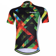 Aogda Pied Stripes Men's Short Sleeve Cycling Jersey in 6 Sizes