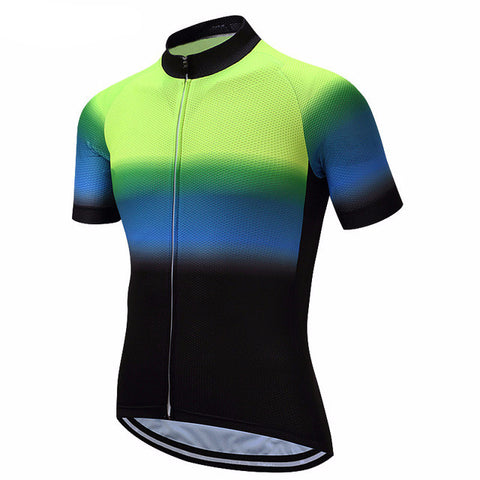 Weimostar Green Blue Men's Short Sleeve Cycling Jersey in 8 Sizes