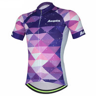 Aogda Purple Triangles Men's Short Sleeve Cycling Jersey in 6 Sizes