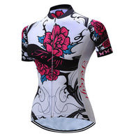 Teleyi Red Rose Women's Short Sleeve Cycling Jersey in 6 Sizes - Joshua Tree Depot