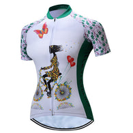 Teleyi Girl On Bike Green Women's Short Sleeve Cycling Jersey in 6 Sizes - Joshua Tree Depot