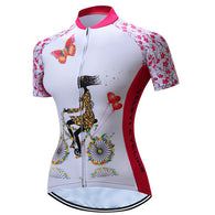 Teleyi Girl On Bike Pink Women's Short Sleeve Cycling Jersey in 6 Sizes - Joshua Tree Depot