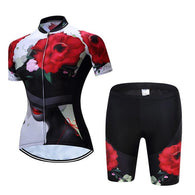 Teleyi Rose Hat Women's Short Sleeve Cycling Jersey & Pants Set In 6 Sizes - Joshua Tree Depot