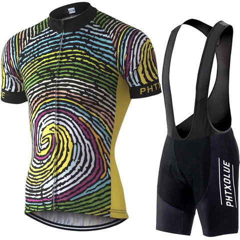 Phtxolue Swirl Men's Short Sleeve Cycling Jersey & Pants Set in 8 Size