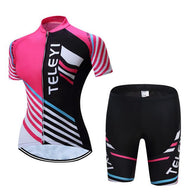 Teleyi Pink & Black Women's Short Sleeve Cycling Jersey & Pants Set In 6 Sizes - Joshua Tree Depot