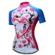 Teleyi Pink Flowers With Heart Women's Short Sleeve Cycling Jersey in 6 Sizes - Joshua Tree Depot
