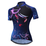 Weimostar Blue Butterflies Women's Short Sleeve Cycling Jersey in 6 Sizes - Joshua Tree Depot