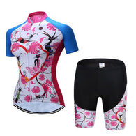 Teleyi Pink Flowers With Heart Women's Short Sleeve Cycling Jersey & Pants Set In 6 Sizes - Joshua Tree Depot