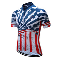 Teleyi USA Stars & Stripes Men's Short Sleeve Cycling Jersey in 8 Sizes