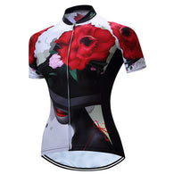 Teleyi Rose Hat Women's Short Sleeve Cycling Jersey in 6 Sizes - Joshua Tree Depot