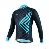 Cheji Blue Chevron Men's Long Sleeve Cycling Jersey in 6 Sizes - Joshua Tree Depot
