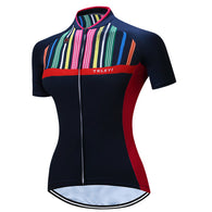 Teleyi Vertical Stripes Women's Short Sleeve Cycling Jersey in 6 Sizes - Joshua Tree Depot