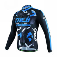 Cheji Blue Patchwork Men's Long Sleeve Cycling in 6 Sizes - Joshua Tree Depot