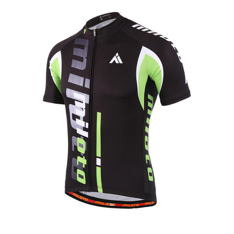 Miloto Black Green Men's Short Sleeve Cycling Jersey in 6 Sizes