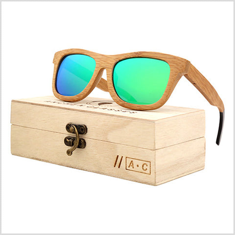 Oval Polarized Bamboo Wood Sunglasses in 6 Colors - Joshua Tree Depot