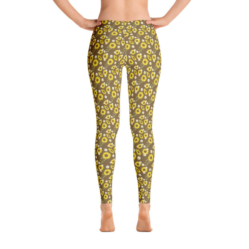 sunflower patterned yoga pants