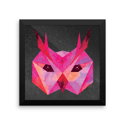 Framed Cosmic Owl Print by WLKR Threads & Design