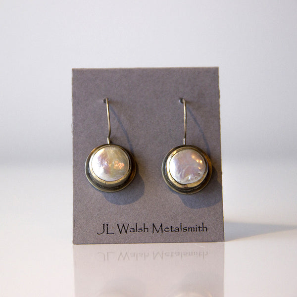 JLWalsh Coin Pearl & Sterling Earrings